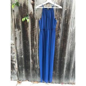 Gorgeous Blue sheer halter tie Maxi dress